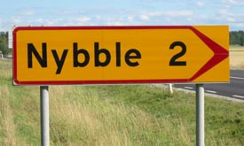 [Road sign: Nybble 2>]