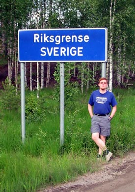 [Picture of me at the Swedish border from Norway]